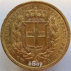 1835 Gold 100 Lire Italy Sardinia, Scarce Huge Coin, Aunc++