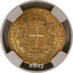 1836 Anchor P 20 Lire Gold Sardinia Italian States Carlo Alberto NGC AU55