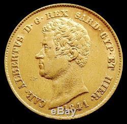 1841 Gold Sardinia Italy 20 Lire Carlo Alberto Coinage About Unc -genoa Mint