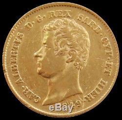 1849 Gold Sardinia Italy 20 Lire Carlo Alberto Coin Extremely Fine Genoa Mint