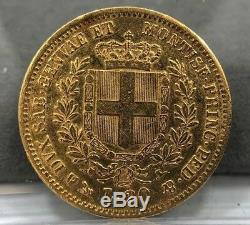 1851 Italy 20 Lire Gold Coin