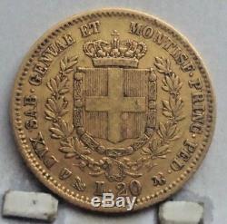 1852 Sardinia Gold 20 Lire Coin X F