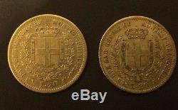 1856 + 1858 Gold Sardinia Italy 20 Lire Vittorio Emanuele II Coins Genoa Mint