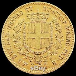 1859 Gold Sardinia Italy 20 Lire Vittorio Emanuele II Coin Xf Torino Mint