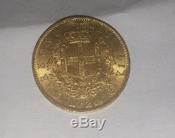 1862 Gold 20 Lire Italy, 6.45 Gr