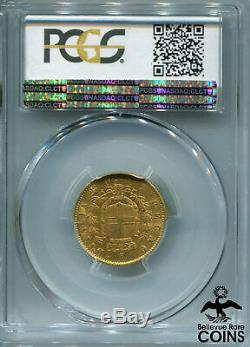 1862-T BN Italy 20 Lire Gold (. 900) Coin PCGS Certified AU-55 KM #10.1