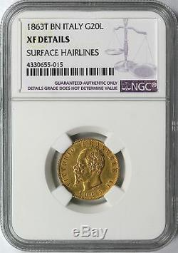 1863T BN Italy G20L Gold 20 Lire NGC XF Details KM# 10.1
