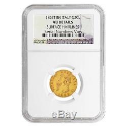 1863T Italy 20 Gold Lire Emanuele Vittorio NGC AU Details
