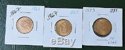 1863, 1865, 1873 Italy GOLD 20 Lire Coins. 0.5601 AGW +NR