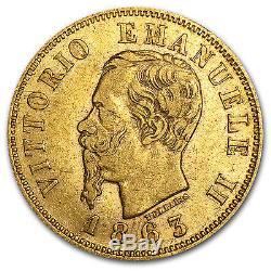 1863-1865 Italy Gold 10 Lire Vittorio Emanuele II Avg Circ SKU #71357