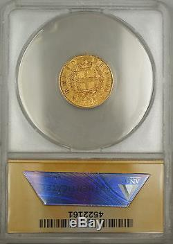 1863 Italy 10L Lire Gold Coin ANACS AU-50