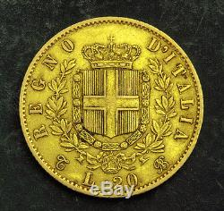 1863, Kingdom of Italy, Victor Emmanuel II. Beautiful Gold 20 Lire Coin. 6.44gm