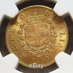1863 T Bn Gold Italy 10 Lire Vittorio Emanuele II Coin Ngc Mint State 63