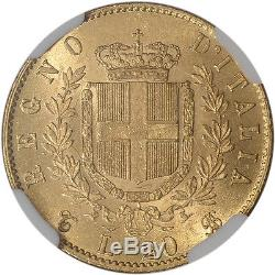 1863 T BN Italy Gold 20 Lire NGC MS63