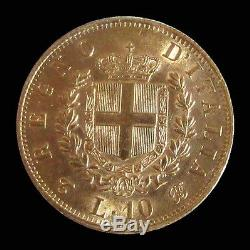 1863 T Bn Gold Italy 10 Lire Vittorio Emanuele II Coin Ngc Mint State Condition