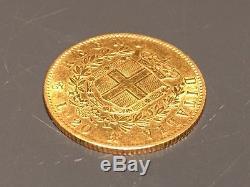 1865 Italian 20 Lire Emmanuele II Gold Coin F-vf
