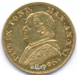 1866-xxi Gold 10 Lire Vatican, Very Rare, Only 8579 Minted