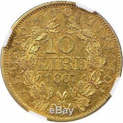 1867R XXII Italy Gold 10 Lire, Papal States, NGC AU53
