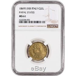 1869 R XXIII Italy Gold Papal States 20 Lire NGC MS61
