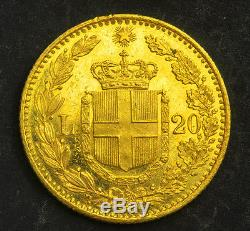 1881, Kingdom of Italy, Umberto I. Beautiful Gold 20 Lire Coin. AU+ 6.45gm