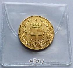 1881 Umberto I Gold 20 Lira Coin