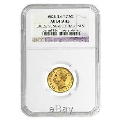 1882R Italy 20 Gold Lire Umberto I NGC AU Details