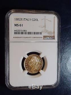 1882R Italy Twenty Lire Gold NGC MS61 20L GOLD COIN PRICED TO SELL NOW