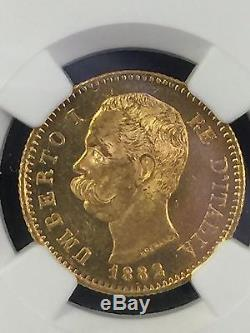 1882 Italian 20 Lire Gold Coin MS-63+ 1882R Italy 20L NGC Certified MS 63+