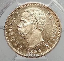 1882 Italian UMBERTO I 20 Lire Gold Coin Rome Italy PCGS Certified MS 62 i61381