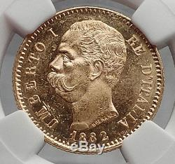1882 Italian UMBERTO I 20 Lire Gold Coin of Rome Italy NGC Certified MS63 i61161