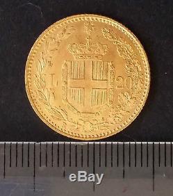 1882 Italy 20 Lire Gold (. 90) coin Umberto I