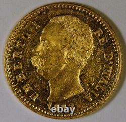 1882 Italy 20 Lire Gold Coin with Umberto I