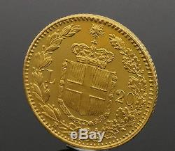 1882 Italy Gold 20 Lire Coin King Umberto I