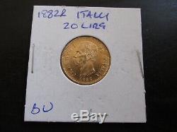 1882 R Italy Gold 20 Lira in GEM BU Condition