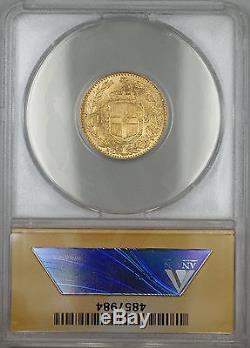 1882-R (Rome) Italy 20L Lire Gold Coin ANACS MS-63 Choice BU SB