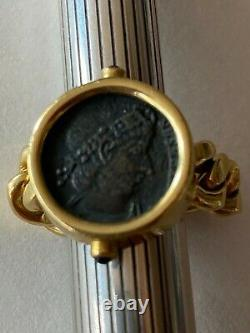 18KT Gold Ring Made in Italy Roman Coin Blue Sapphire Stones Size 7.5