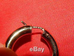 18K GOLD LARGE ROBERTO COIN 1 1/8th INCH WIDE/ 5MM THICK HOOP EARRINGS