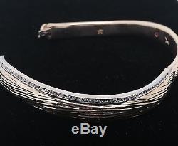 18k White Gold Elephant Skin Wave Design Diamond Bracelet By Roberto Coin Italy