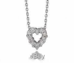18K White Gold ROBERTO COIN Italy Tiny Treasures Diamond Heart Pendant Necklace