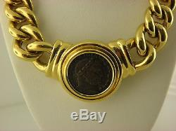 18k Yellow Gold And Bronze Coin Necklace By Virginia Capri, Italy
