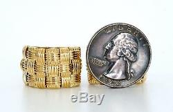 18K Yellow Gold Italy ROBERTO COIN Appassionata 3 Row Wide Cuff Huggie Earrings