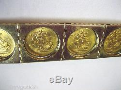 18k Gold & 22k Dei Gratia Regina Fd Elizabeth II Coin 7 3/4 Bracelet #21
