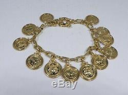 18k Gold Neoclassical Facsimile Roman Coin Charm Bracelet 20 Dwt