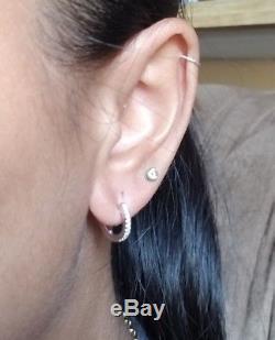 18k Roberto Coin White Gold Baby Diamond Hoop Earrings huggies dainty