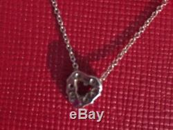 18k White Gold Roberto Coin Tiny Treasures Diamond Heart Necklace 2.23 Grams
