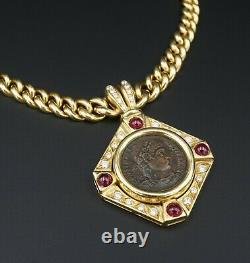 18k Yellow Gold Ancient Roman Coin Ruby Diamond Pendant Necklace 16 CO675