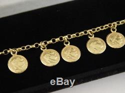 18k Yellow Gold Coin Charm Bracelet Milor Italy Gift Box 750 Italian