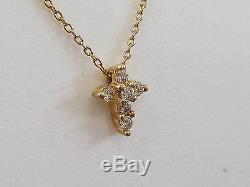 18kt Yellow Gold and Diamond Tiny Treasures Cross Necklace by Roberto Coin