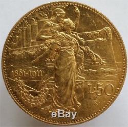 1911 Gold 50 Lire Italy, 50th Kingdom Anniversary, Scarce