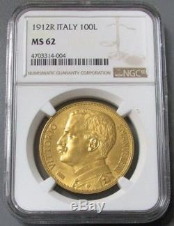 1912 R Gold Italy 100 Lire Ngc Mint State 62 Vittorio Emanuele III